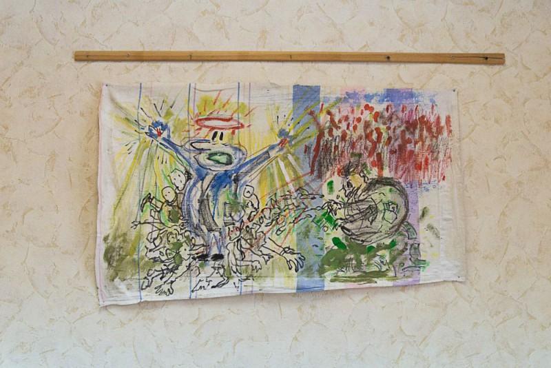 """Александр Гореликов  «Буржуй».  Из серии """"Revolutionary dream"""",   живопись на ткани, смешанная техника, 80*50 см, 2016"""