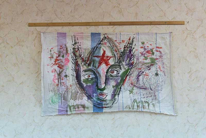 """Александр Гореликов «Оборотень».  Из серии """"Revolutionary dream"""",   живопись на ткани, смешанная техника, 80*50 см, 2016"""