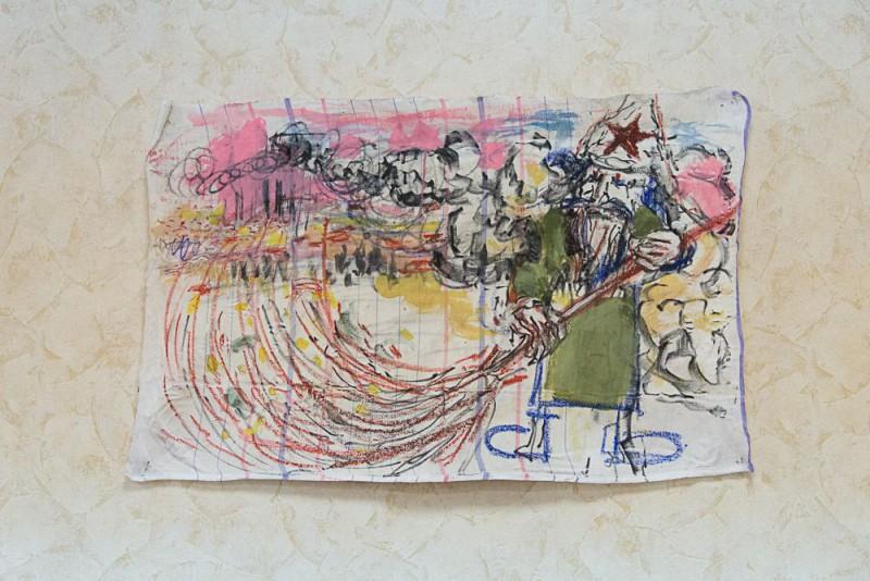 """Александр Гореликов «Дворник».  Из серии """"Revolutionary dream"""",   живопись на ткани, смешанная техника, 80*50 см, 2016"""